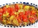 Рецепта Салата кьопоолу - класическа рецепта с домати, печени чушки, патладжан и чесън